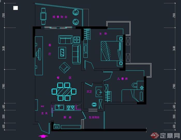一阳台住宅空间装修设计CAD施工图