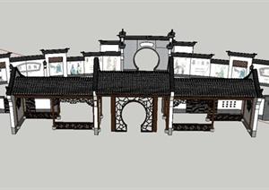 中式九头墙景墙 与廊架设计SU(草图大师)模型