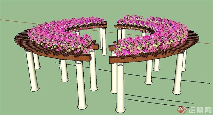 园林景观节点圆形花架设计su模型