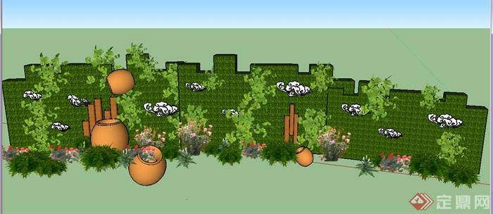 园林景观节点植物景墙设计su模型