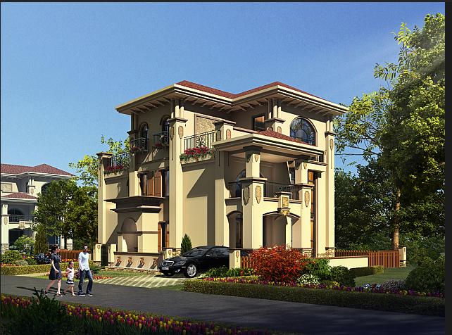 某欧式风格三层别墅建筑设计方案(含效果图)[原创]