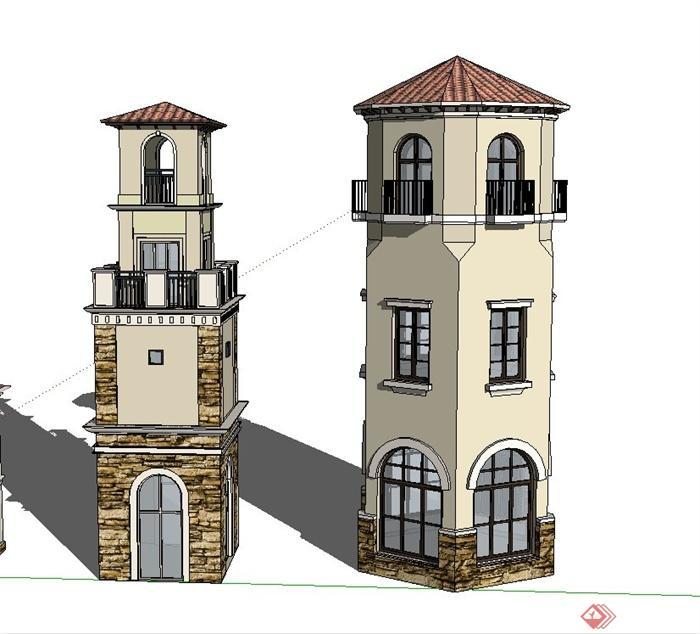 五款欧式多层塔楼建筑设计su模型[原创]