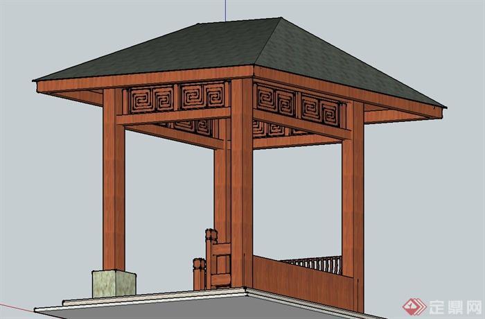 园林景观节点木质四角方形亭子设计su模型(3)