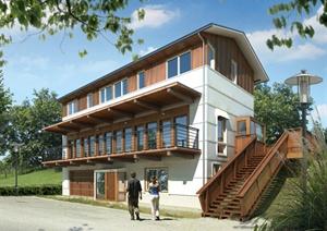 某三层木质住宅别墅建筑设计PSD效果图
