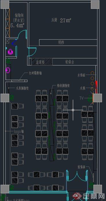现代某面馆室内装修设计CAD方案图与JPG效果图(9)
