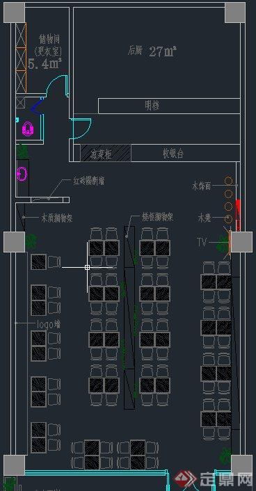 现代某面馆室内装修设计CAD方案图与JPG效果图(8)