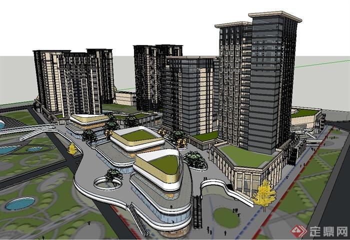 某簡歐風格高層商業建筑與住宅建筑設計su模型(2)