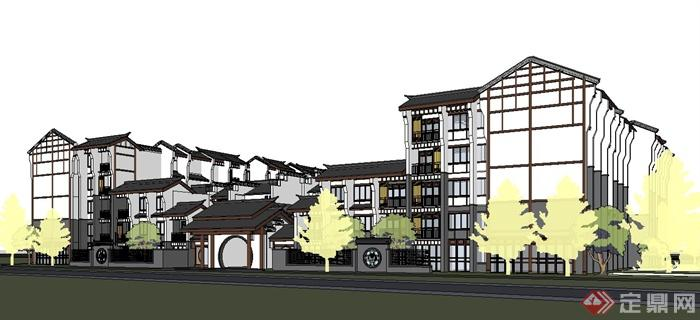 某现代中式悦榕庄酒店建筑设计su模型(4)图片