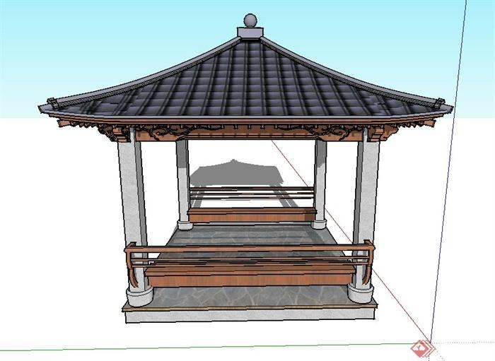 园林景观节点四角方形翘檐亭设计su模型(1)