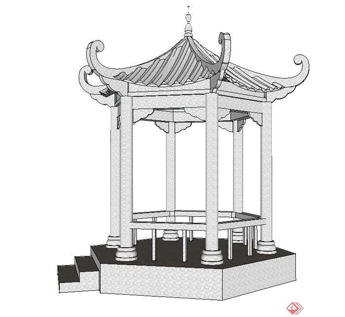 园林景观节点六角带斗拱翘檐亭设计su模型