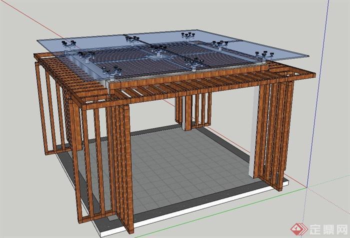 木质方形玻璃廊架设计SU模型,模型是方形的玻璃与木质材料制成,模型有材质贴图,具有一定的参考价值。