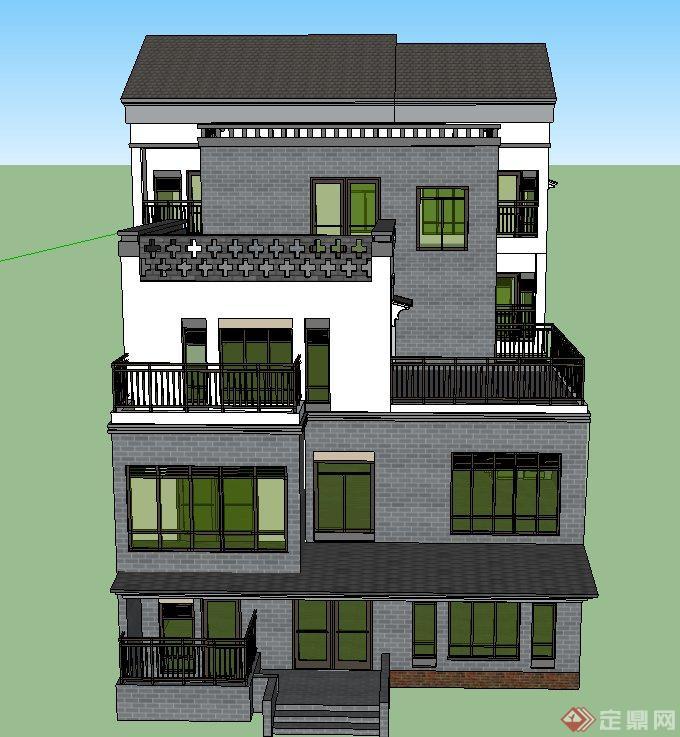 现代中式四层独栋别墅建筑设计su模型