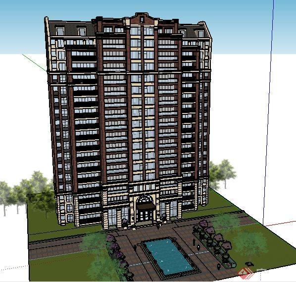 英式风格一梯四户住宅建筑设计su模型