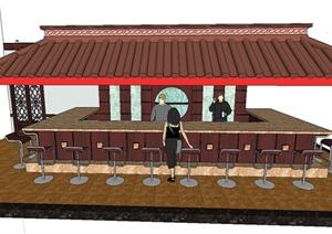 中式某餐厅吧台设计SU(草图大师)模型