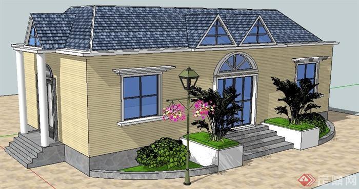 美式乡村建筑su模型(1)图片