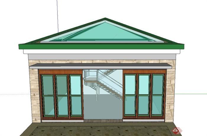 某单层欧式方形阳光房建筑设计su模型(1)