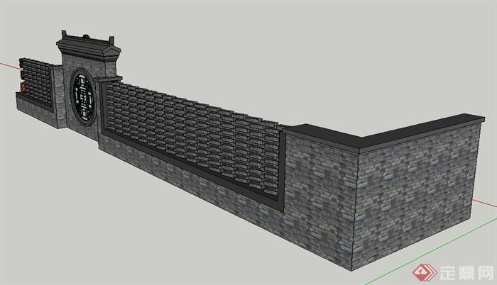 古典中式青砖景墙与围墙设计su模型图片