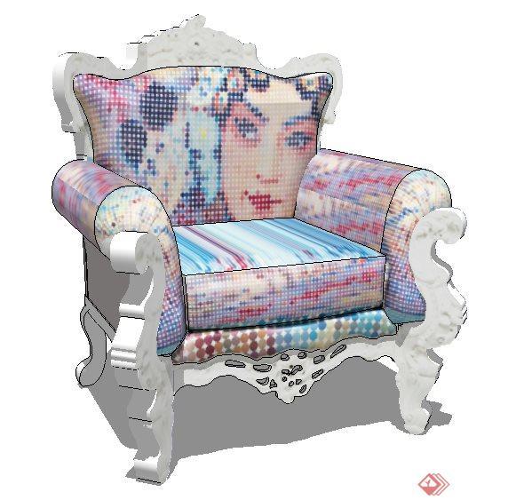 欧式风单人沙发su模型