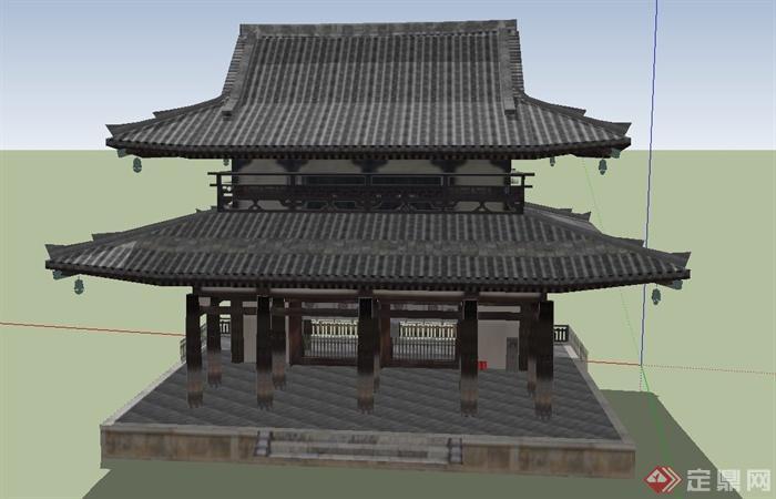 古典中式寺庙两层塔楼建筑设计su模型