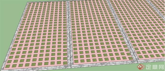 植草地砖停车位设计su模型(2)