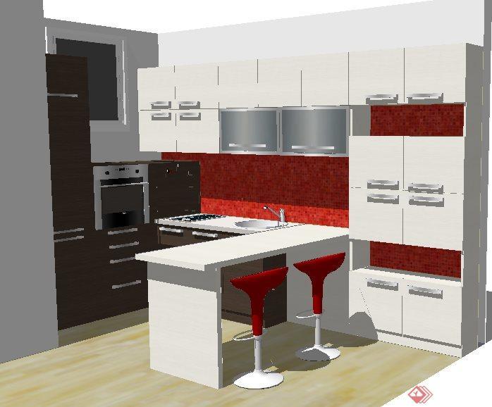 现代简约厨房橱柜及吧台su模型(1)