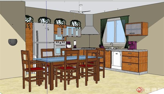 现代中式风格厨房及餐厅设计su模型