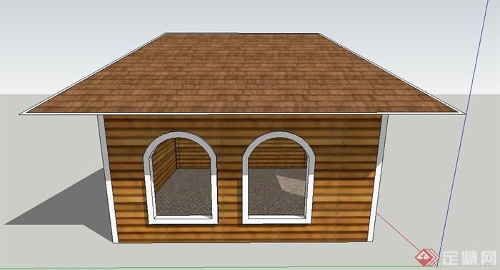 某单层木质狗窝设计su模型