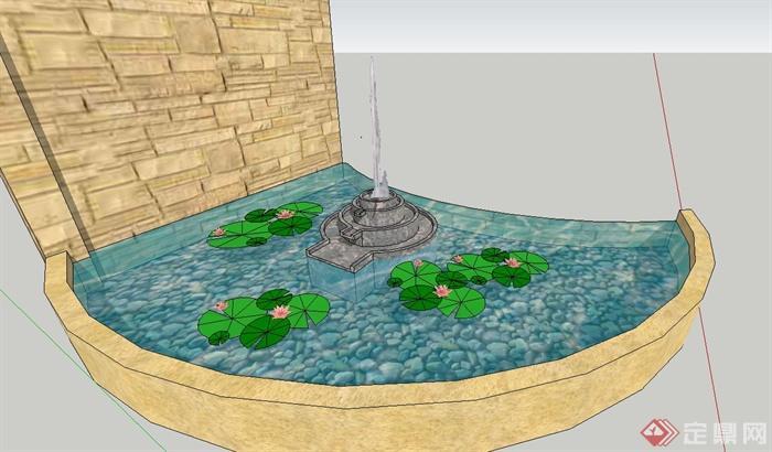 园林景观节点磨盘喷泉水池设计su模型(1)