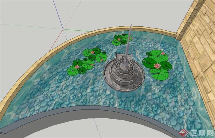 园林景观节点磨盘喷泉水池设计su模型(2)