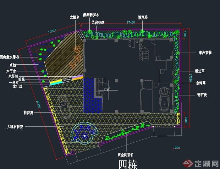 别墅庭院景观绿化设计CAD平面图
