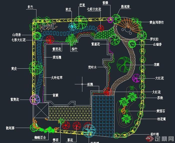 平面卷轴原创v平面CAD别墅布置图[造景]别墅花园5上古溪木镇图片