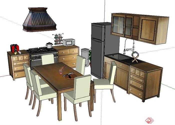 现代风格厨房橱柜及餐桌椅su模型(2)