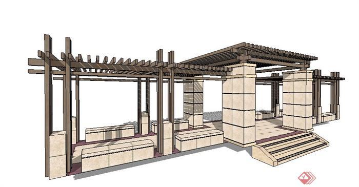 现代风格木质景观廊架设计su模型