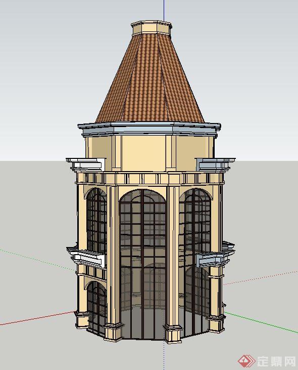 欧式两层塔楼建筑设计su模型