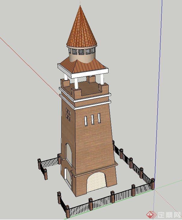 园林景观欧式景观塔设计su模型