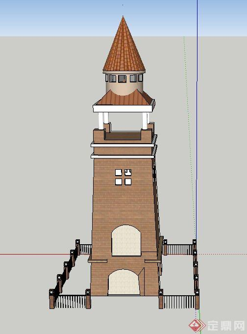 园林景观欧式景观塔设计SU模型,该模型有栅栏,模型有材质贴图,是欧式风格,具有一定的参考价值。
