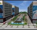标志景墙,喷泉水池,行道树,地面铺装,商业景观