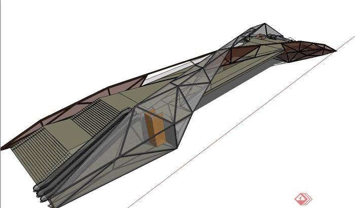 现代钢架结构高架桥设计su模型