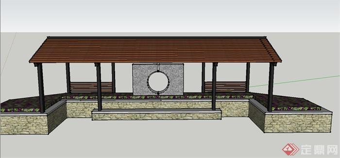 园林景观节点长方形亭子设计su模型(1)