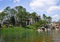 水体景观,假山水景,草坪,雕塑小品,景观树,住宅景观