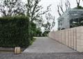 道路,地面铺装,地灯,水沟,矮墙,植物墙,住宅景观