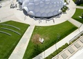 园路,草坪,坐凳,异形建筑,小品,路灯,广场景观