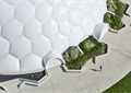 异形建筑,小品,园路,地面铺装,种植池,广场景观