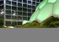 异形建筑,草坪,路灯