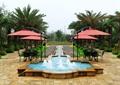 喷泉水池景观,水池壁,地面铺装,遮阳伞,桌椅,花卉植物,住宅景观