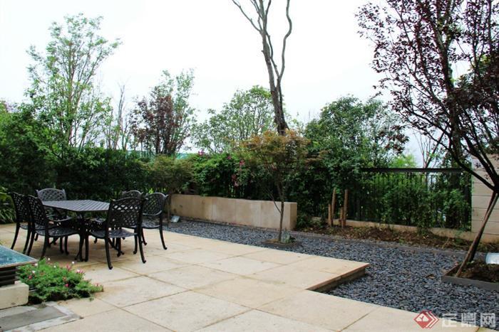 庭院景观,地面铺装,桌椅