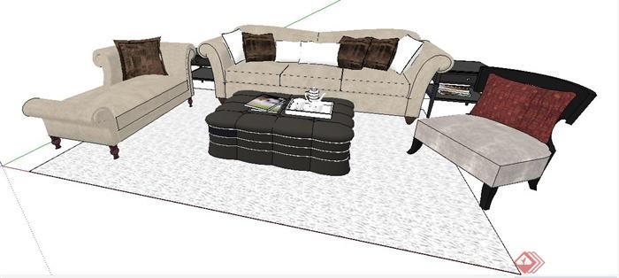 某欧式风格沙发茶几组合家具su模型