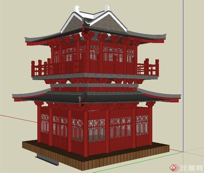 中式风格古建塔楼设计su模型(2)