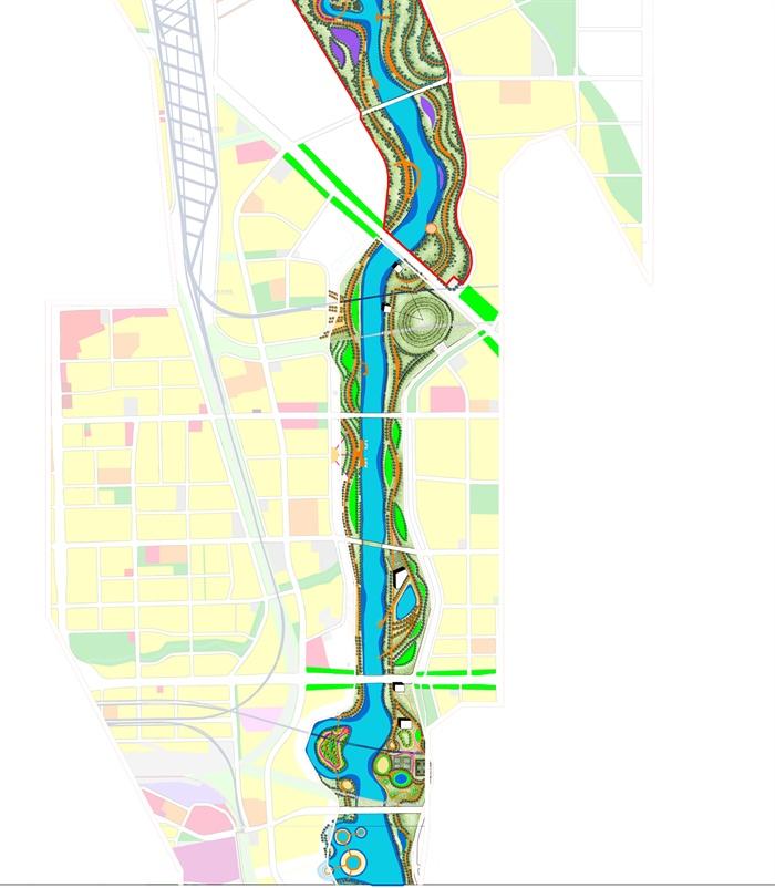 某河流景观设计cad图与psd总平面效果图[原创]