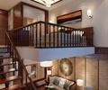 木栏杆,木楼梯,沙发,茶几,地面铺装,花瓶插画,背景墙,麻将桌,客房